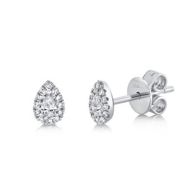 14K White Gold Diamond Pear Stud Earrings