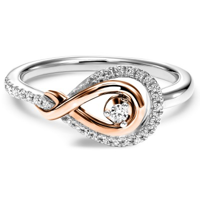 Loves Crossing Rose Gold and Silver Diamond Ring