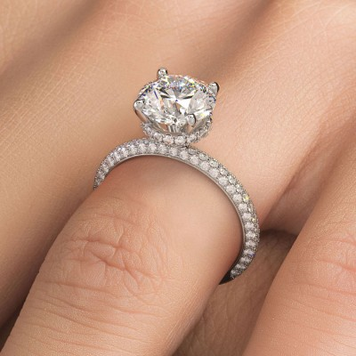 14K White Gold Round Cut Diamond Pave Shank Engagement Ring (Semi-Mount)