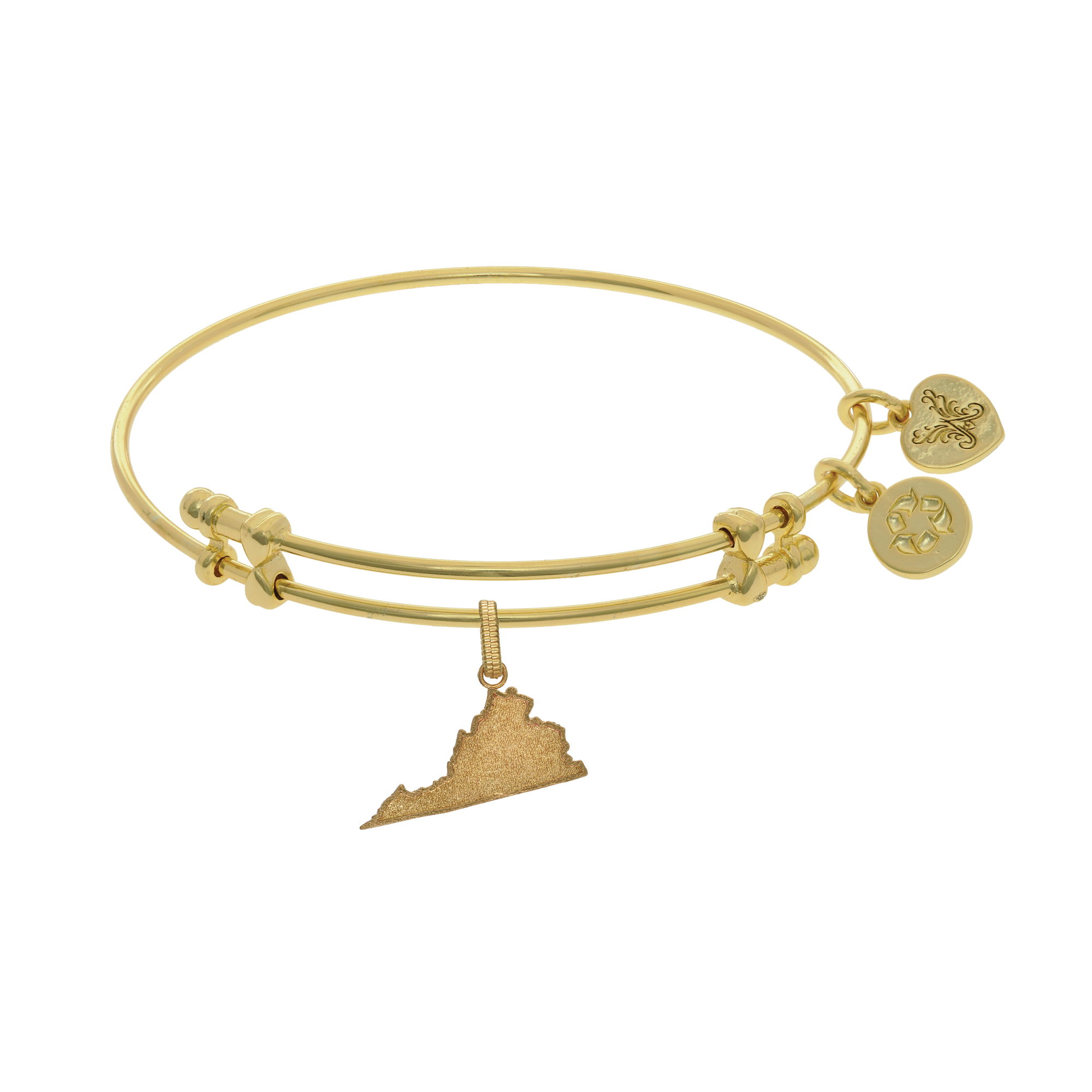Brass with White Finish Initial S Charm for Angelica Collection Bangle