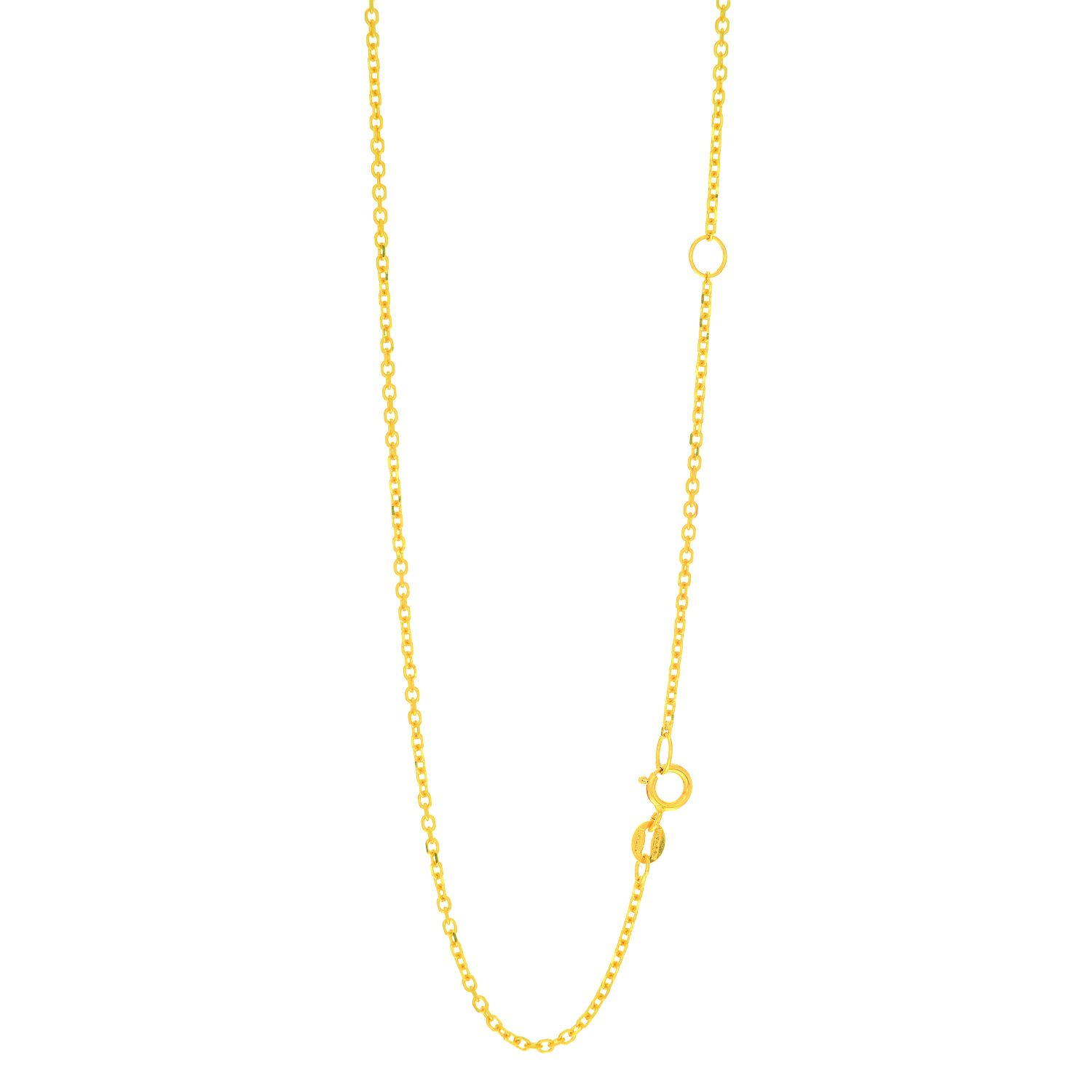 14k Yellow+White Gold 1.0mm Diamond Cut Designer Snake Chain with Lobster Clasp.