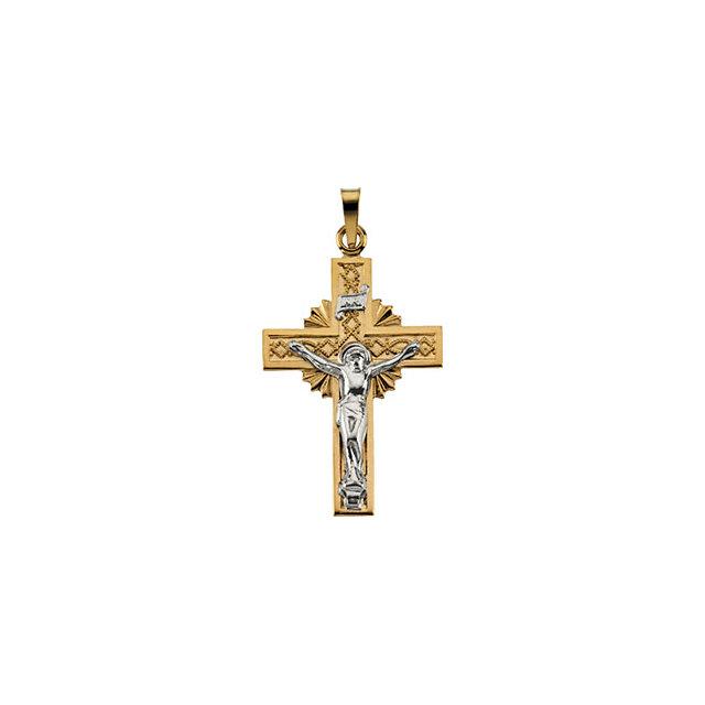 14K Yellow Gold /& White Gold 14x11mm .004 CTW Diamond Cross Pendant